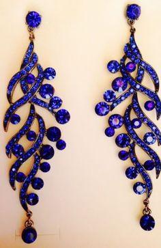 royal blue chandelier earrings