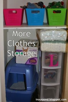 non traditional clothes storage- I love the bins for pjs!