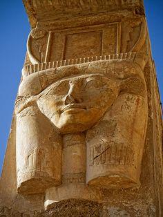 Egyptian goddess Hathor column capitals. Temple of Hatshepsut (1508-1458 BC), Deir el-Bahari,18th Dynasty. Egypt