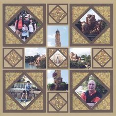 Here is a fun travel scrapbook layout of Islands of Adventure (Universal Orlando). We love how this scrapbook template turned out! We used our frame dies to decorate the page and it doesn't look too busy since we used a neutral color. Click to get the scrapbook page pattern for FREE!