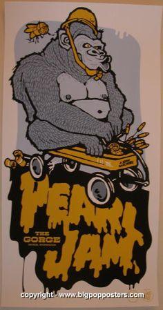 "Pearl Jam silkscreen concert poster (click image for more detail) Artist: Ames Design Venue: Gorge Amphitheatre Location: George, WA Concert Date: 7/23/2006 Size: 13 1/2"" x 26"" Condition: NM/NM+ (slig"