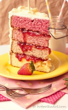 White Chocolate Covered Strawberry Ombre Cake