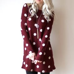 Adorable Maroon Polka Dot Dress with Sequins Please do not buy this listing, I have multiple sizes available! This dress is SO pretty. It is maroon / burgundy with white polka dots. Beautiful gold sequin shoulder yoke. Long sleeved. Tunic dress length. Dresses Long Sleeve