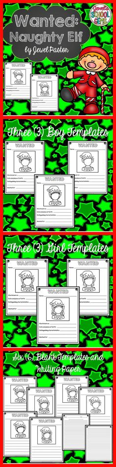 CHRISTMAS WRITING ACTIVITIES (WANTED: NAUGHTY ELF)   Have your students enjoy creative writing during the Christmas season with Wanted: Naughty Elf sheets.  This packet comes with six blackline wanted poster templates -- three boy templates and three girl templates. Each sheet contains a blank elf boy/girl face that your students can draw their own faces on depending on their own or desired hairstyle.