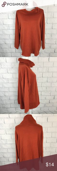 Dressbarn | Orange Cowl neck Sweater | 18 20 | D15 ▪️ Good Preowned Condition ▫️ Women 18/20 ▪️ smoke free - Dog friendly home ▫️Armpit to Armpit 23.5 inch. ▪️Top to Bottom 26.5 inch. ▫️Armpit to end of Sleeve length 15.5 inch  ✔️Photo's might make certain items or colors appear slightly different than it actually is due lighting. I attempt to describe colors accurately, but I might see colors slightly differently than another person, due to lighting and difference in opinions…