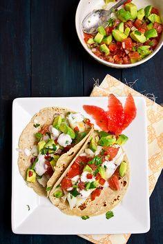 fish tacos w/ grapefruit and avocado salsa- sounds so good!