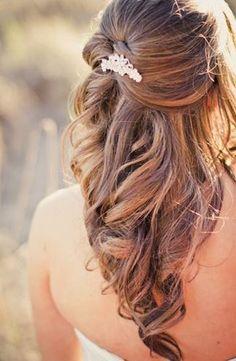 Bridal Hair Style. | Weddings | Wedding Hairstyles | Bridal Hairstyles | #weddings #weddinghair #weddinghairstyle #bride #halfupmediumstyles #bridalhair | Wedding Hair Half, Wedding Hairstyles Half Up Half Down, Wedding Hair And Makeup, Bridal Hair Half Up With Veil, Half Updo, Bridal Hair Half Up Medium, Wedding Braids, Bride Hairstyles For Long Hair, Down Hairstyles