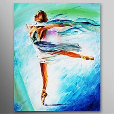 Hand Painted Oil Painting People The Girl Dance Ballet with Stretched Frame Ready to Hang – USD $ 79.99