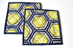 Pot Holders/Pair/Quilted/Mats/Navy Kitchen by LunaBearGifts