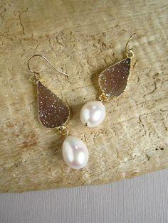 Druzy Earrings Drusy Quartz Freshwater Pearls by julianneblumlo, $108.00