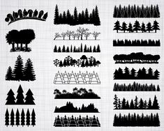 tree line silhouette Tree Clipart, Leaf Clipart, Tree Svg, Vector Trees, Silhouette Studio Designer Edition, Forest Silhouette, Silhouette Files, Landscape Silhouette, Wood Png