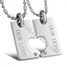"New Stainless Steel ""Our Love Our Hope"" CZ Heart Couple Pendant Lover Necklace For Sale $32.89"
