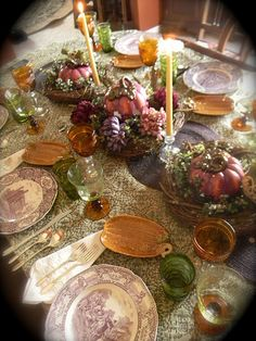 Nancy's Daily Dish: Amber and Aubergine Thanksgiving Table w/ Historical Transferware