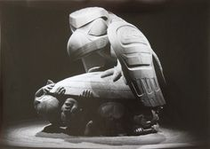 This a black and white photograph of the sculpture carving by well known Haida artist Bill Reid Museum Of Anthropology UBC Vancouver Canada