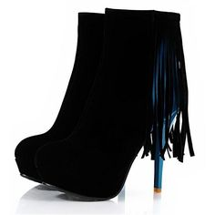 Womens Boots | 2013 Winter Suede Round Closed Toe Stiletto Super High Heel Tassel Black Boots - Hugshoes.com