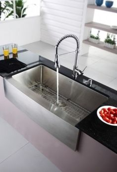 Kraus 36 inch Farmhouse Single Bowl Stainless Steel Kitchen Sink with Chrome Kitchen Faucet and Soap Dispenser Drop In Kitchen Sink, Modern Kitchen Sinks, Kitchen Sink Design, Farmhouse Sink Kitchen, Kitchen Sink Faucets, Modern Farmhouse Kitchens, Kitchen Reno, Modern Sink, Farm Sink
