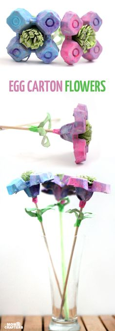 I made these beautiful egg carton flowers as a collaborative craft with my toddler! If you're looking for a pretty flower kids craft made fro upcycled materials, this is definitely one to try! Recycled Garden Crafts, Upcycled Crafts, Spring Activities, Craft Activities, Spring Crafts For Kids, Art For Kids, Easter Crafts, Christmas Crafts, Egg Carton Crafts