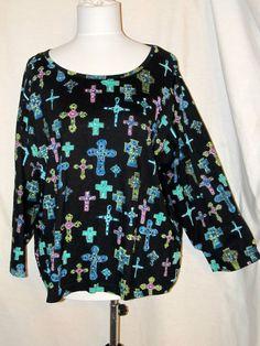 Sz XXL Take Two Art Knit Top Black Top of Crosses 3/4 Sleeves Scoop Neck