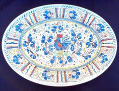 """Le Cadeaux Blue Rooster Coupe Oval Platter Serving Tray 16"""" Melamine #LeCadeaux"""
