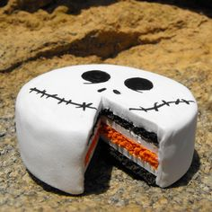Jack Skellington cake: Chocolate and orange carrot cake w/Jack frosting face