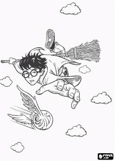 Harry Potter Playing Quidditch With His Magic Broom As A Hunter Trying To Catch The Ball Coloring Page