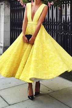 Yellow Lace Prom Dress#YellowLacePromDress V-Neck Prom Dress#V-NeckPromDress Sleeveless Prom Dress#SleevelessPromDress Sexy Prom Dress#SexyPromDress