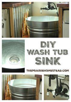 diy wash tub sink tutorial for farmhouse laundry room