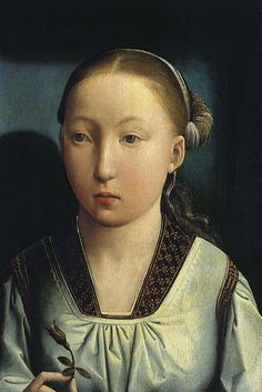 Juan de Flandes - An Infanta (Catherine of Aragon), 1496, Juan de Flandes/John of Flanders; the Infanta Catalina holds a rosebud, maybe a later addition as it is a symbol of the House of Tudor, into which she married in 1501. (blogs.artinfo.com)