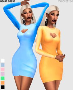 "candysims4: "" HEART DRESS Formal, basic but beautiful. - With 7 colors. - Only for female. - You will find in dress. - Mesh and texture by me. If you use please tag me #candysims4 The first photo are..."