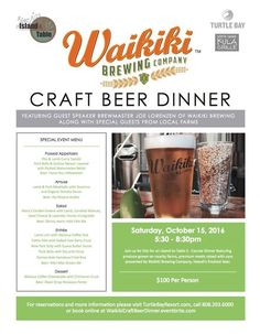 Waikiki Brewing Company Craft Beer Dinner - http://fullofevents.com/hawaii/event/waikiki-brewing-company-craft-beer-dinner/