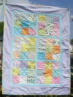 Large patchwork cot quilt crib quilt baby by fionasLoveQuilts, £100.00