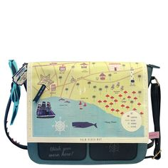 Memento Beach Satchel Part of our Memento range this beach satchel is something pretty special The front of the bag features a beach illustration