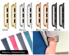 Apple Watch Strap Adapter and Buckle Set iWatch Connector Apple Watch Leather, Fitbit Alta, Beautiful Watches, Rose Gold, Trending Outfits, Unique Jewelry, Handmade Gifts, Etsy, Black