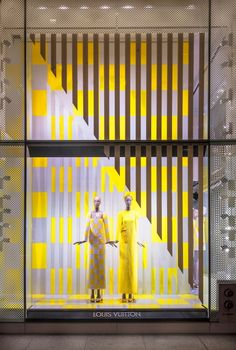 Louis Vuitton's 2013 spring window.Yellow and white geometric shape create a knd of visual compact as well as the big stripe stop in diagonal line. Stripe and check are renew elements in whatever fashion trend or window design trend.