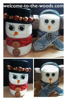 Crafts and DIY Snowman Christmas Gift Candy container Easy Craft for the Holiday