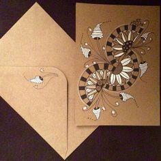 """Greetingcard with envelope #zentangle #zentangleart #zendoodle #zendoodleart #doodle #doodleart #penart #penandink #blackandwhite #tanglersofinstagram #hearttangles"" Photo taken by @nikkiwie on Instagram, pinned via the InstaPin iOS App! http://www.instapinapp.com (11/23/2015)"