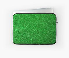Green glitter laptop sleeve for Mac or PC. Green Glitter, The Elf, Back To Black, Cool Eyes, Emerald Green, Customized Gifts, Laptop Sleeves, Mac, Plush