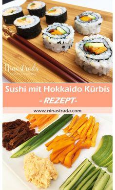 Rezept für Sushi mit Hokkaido Kürbis, getrockneten Tomaten und spicy Garnelen Crème Sushi Co, Seafood, Ethnic Recipes, Sushi Ingredients, Pumpkin Jam, Tomatoes, Eat Lunch, Food Dinners, Pumpkin Pasta
