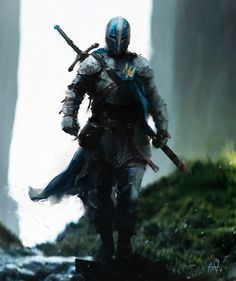 Trickster Heavy armored medieval Knight, with a two handed sword, swordsman warrior fighter soldier concept art character design illustration by Alex Alekseenko Dark Fantasy Art, Fantasy Concept Art, Fantasy Kunst, Fantasy Character Design, Fantasy Rpg, Medieval Fantasy, Fantasy Artwork, Character Concept, Character Inspiration