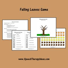 This fall themed game can be used to work on almost any speech or language goal with individuals or groups. Speech Therapy Games, Speech Language Pathology, Therapy Activities, Therapy Ideas, Speech And Language, Falling Leaves, Picture Cards, Autumn Theme, Autumn Leaves
