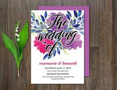 Wedding Invitation Watercolor Flower by aticnomar on @creativemarket