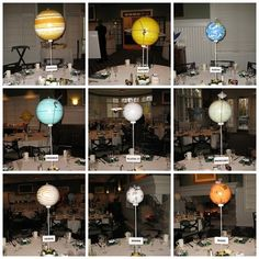 planetary centerpieces, for some crazy nerdy party I will one day throw ... Also would work as a place settings on a scaled down level... And because it must be said- the big yellow one is the sun