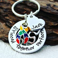 Pieced Together Perfectly Autism Keychain Autism, Hand Stamped, Jewels, Personalized Items, Key Chains, Aspen, Handmade, Accessories, Sweet