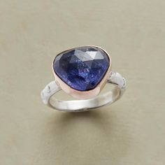 HEART - This Jes MaHarry tanzanite ring evokes the perfect union of heart and mind in a design bearing an intricately faceted tanzanite held in a deep 14kt rose gold bezel on a hand-forged sterling silver band. USA. Exclusive. Whole sizes 5 to 9.   Sundance catalogue.   Over $2k!