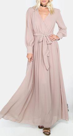 Wrap V Neckline Self Tie Maxi Dress