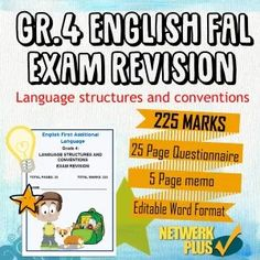 Grade 4 English FAL Exam Revision and Memo- 25 Pages of Language - Teacha! Exam Revision, English Exam, Exam Papers, Teaching Resources, South Africa, Language, Teacher, African, Classroom