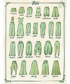 From 100 Tuesday Tips volume some of the different type of pants. I personally love culotte and harem pants. Drawing Techniques, Drawing Tips, Drawing Sketches, Fashion Design Drawings, Fashion Sketches, Fashion Terms, Fashion Hacks, 90s Fashion, Retro Fashion