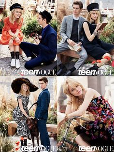 Real life couple Emma Stone and Andrew Garfield featured in the August 2012 issue of Teen Vogue. Emma's hair by Mara Roszak for Starworks Artists.