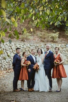 Wedding Party in Fall Colors