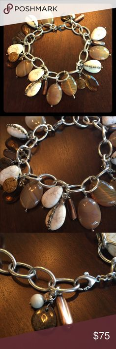 """JUST IN 925 Bronzite Agate Shell Magnesite This lobster clasp bracelet was hand crafted from 925 Sterling, Bronzite, Pyrite, Agate, Magnesite, Shell, & Glass. Can fit up to a size 7"""" wrist. Pairs perfectly with the earrings & necklace shown in the last picture... Bundle & Save! (B2065, pg 55F) * Boho Chic, Natural Stones, Genuine Silpada *  No trades, feel free to ask questions, please use the offer button if you would like to make one, & all sales are final. Thank you!  Silpada Jewelry…"""